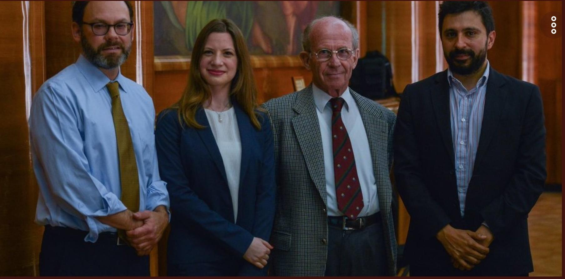 Foto de Ramiro Albrieu y Jorde Mandelbaum (CIPPEC) junto a autoridades del G20 e investigadores del Pew Research Center
