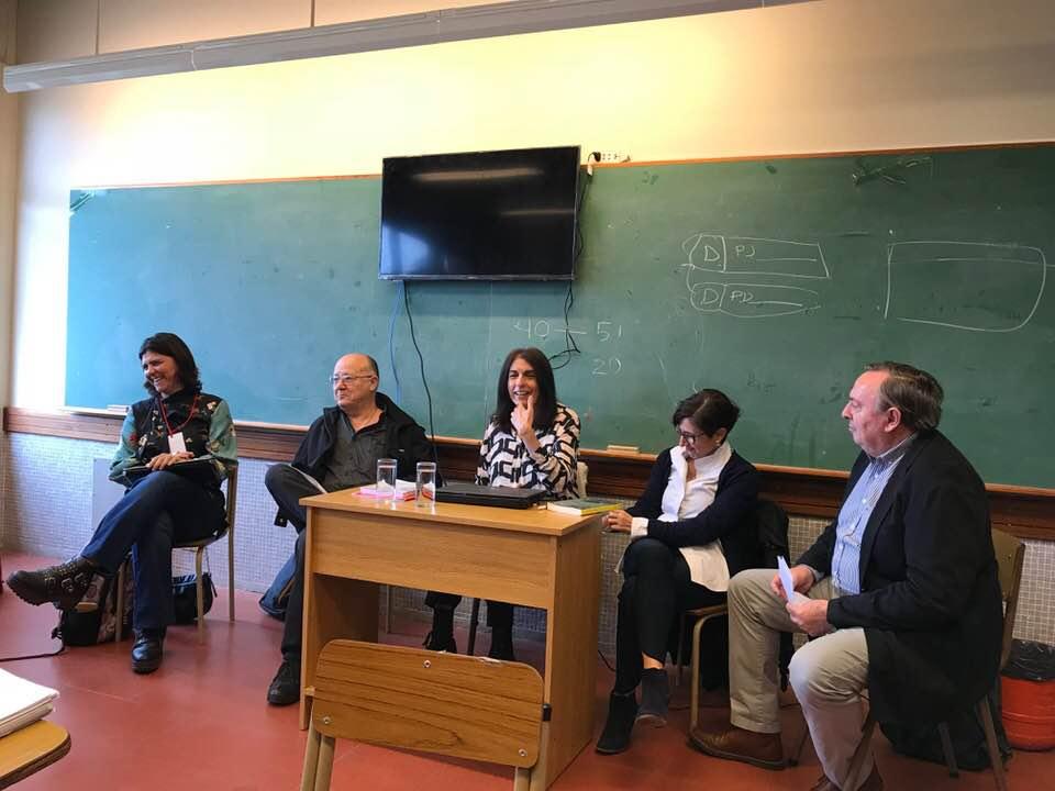 """Natalia Aquilino y Paula Nazarena Amaya (CIPPEC), junto a Alberto Bonifacio (UP), Cristina Díaz (UNER) y Nerio Neirotti (UNLa), juntos en la mesa redonda """"Evaluación de políticas públicas: experiencias y desafíos"""""""