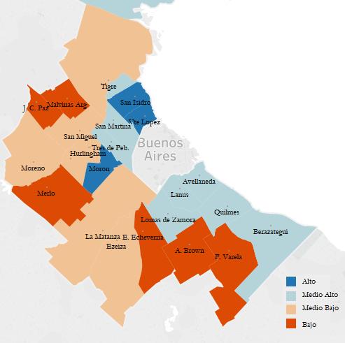 Gráfico 2. Mapa coloreado del conurbano bonaerense sobre el agrupamiento de los municipios según progreso social