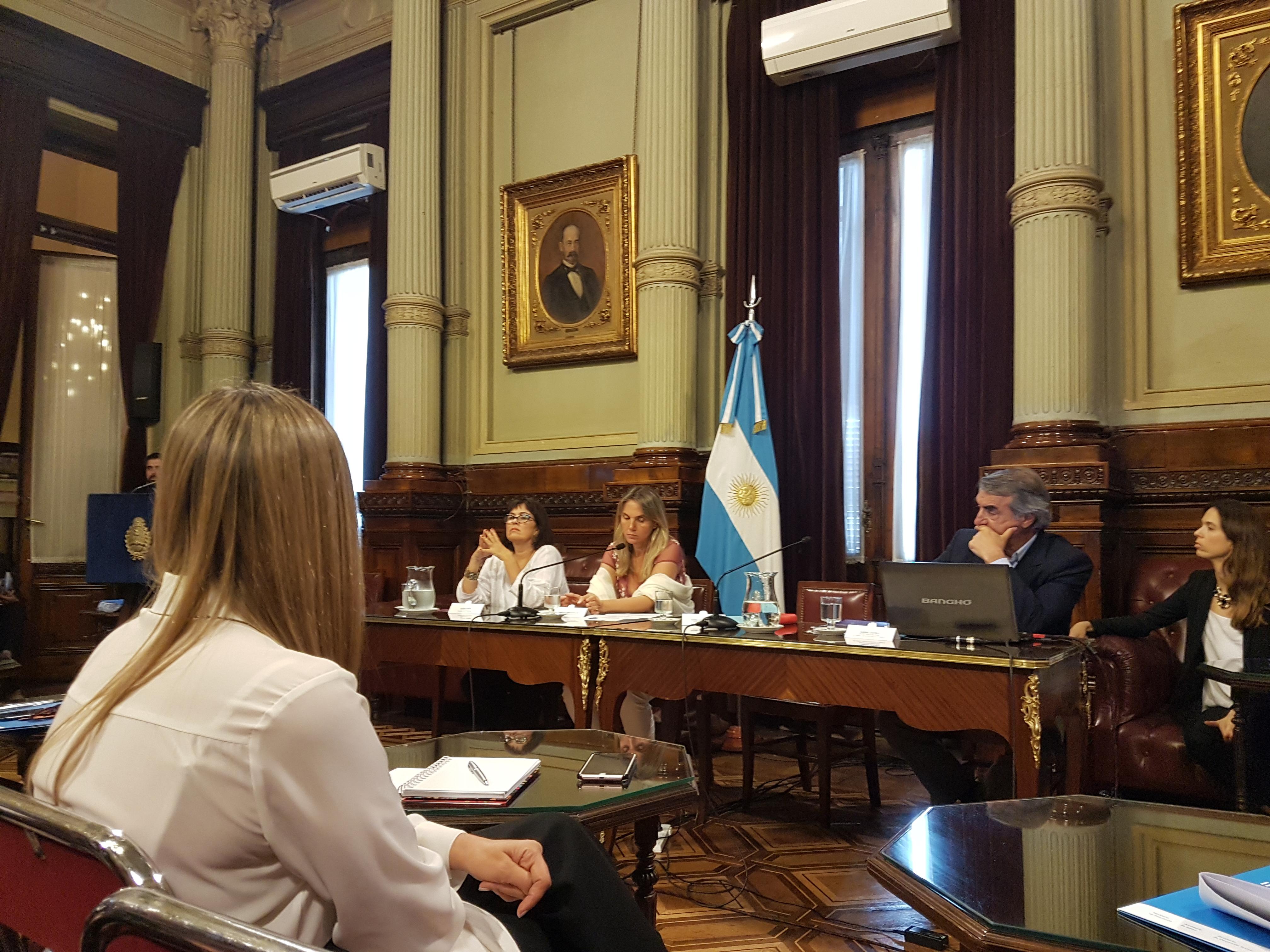 """Gimena de León y Alejandro Biondi (CIPPEC) en el evento """"Prevención del Embarazo No Intencional en la Adolescencia (ENIA): construcción de una agenda conjunta entre el Poder Legislativo y el Poder Ejecutivo"""", que tuvo lugar en el salón Illia del Senado de la Nación"""