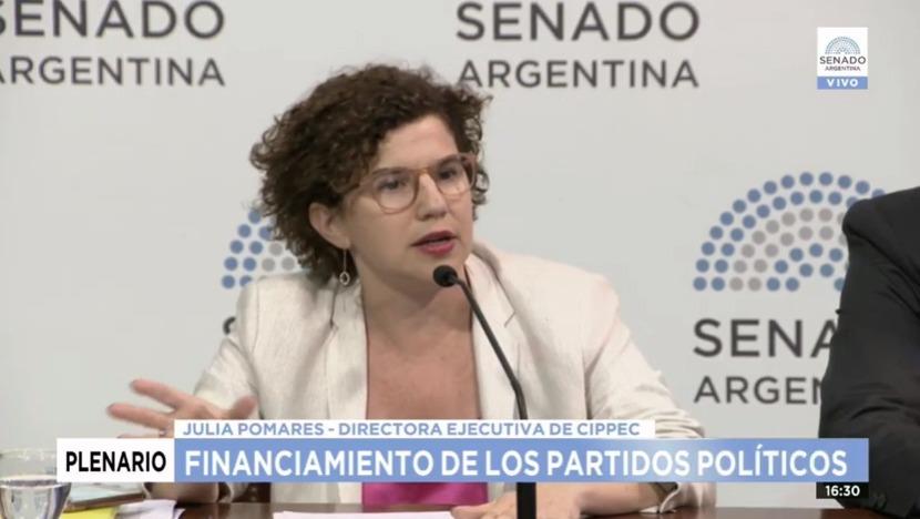 Julia Pomares (CIPPEC) en el Plenario del Senado de la Nación Argentina sobre el financiamiento de los partidos políticos