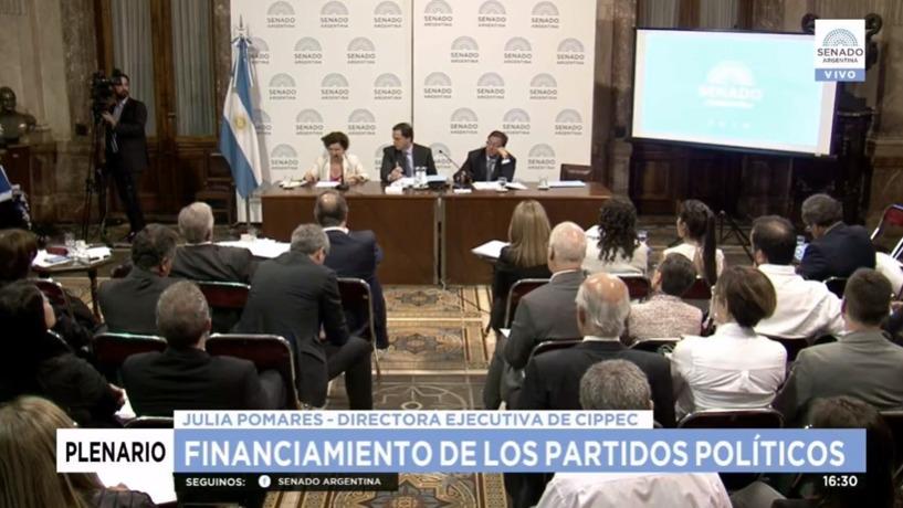 Imagen del plenario sobre el financiamiento de los partidos políticos en el Senado de la Nación argentino