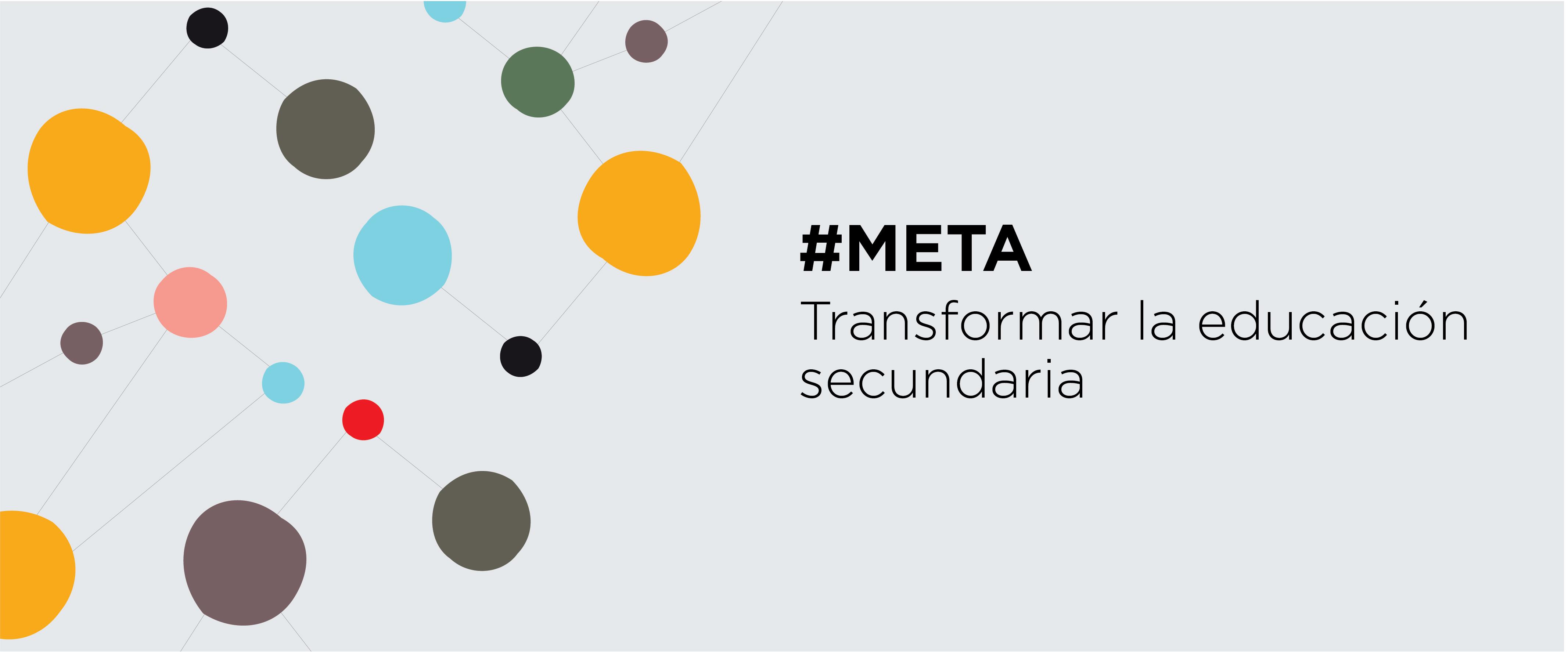 """Flyer proyecto """"Meta: transformar la educación secundaria"""" de CIPPEC"""