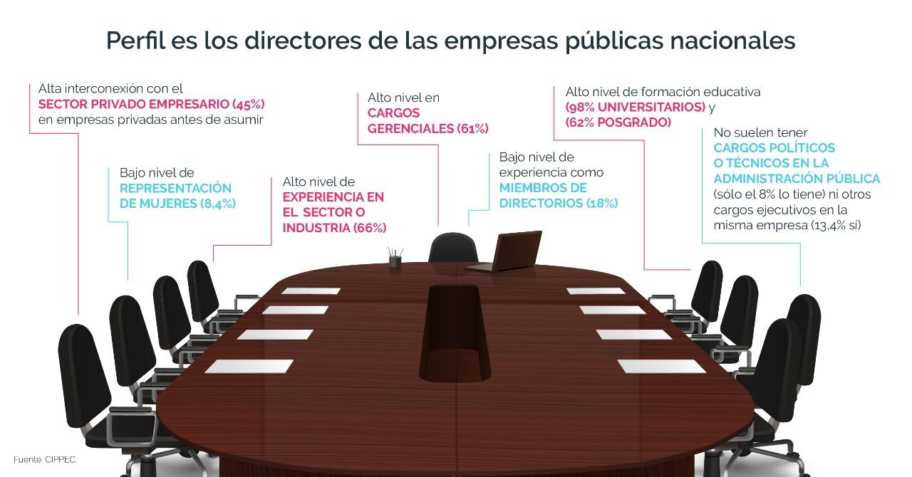 Gráfico explicativo sobre el perfil de los directores de las empresas públicas nacionales